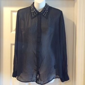 Mossimo Button Down Blouse Top Stud Size Medium